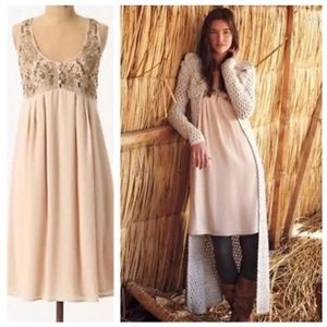Anthropologie Silk Blush Dress